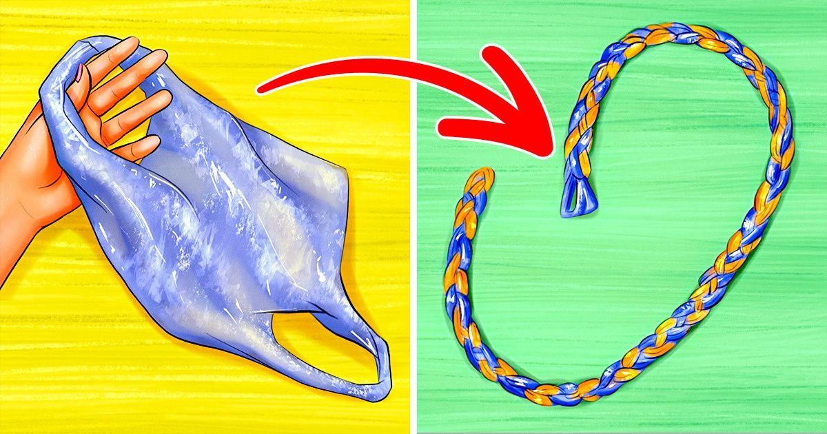 Cómo hacer una cuerda con bolsas de plástico