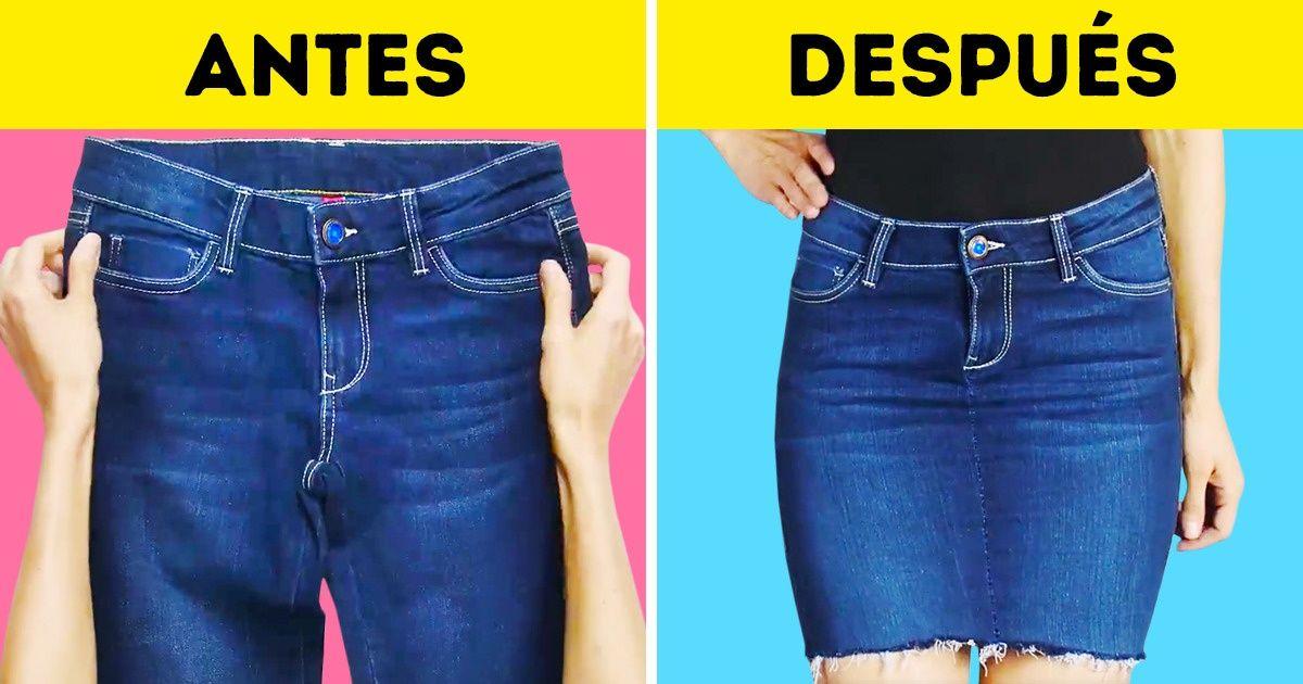 Cómo hacer una falda de unos jeans